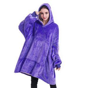 Manta de invierno de gran tamaño con las mangas de las mujeres de gran tamaño con capucha paño grueso y suave caliente sudaderas con capucha gigante manta de la TV Mujeres con capucha del traje EWC2792