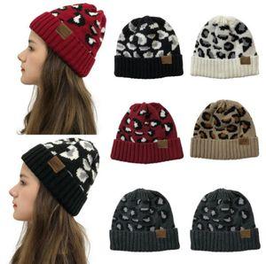 Knitted Hats Women Hat Leopard Print Knitting Beanies Headgear Fashion Caps Outdoor Winter Warm Wool Hat Party Hats Supplies HWB2621