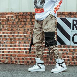 Moda-Hip Hip Streetwear Men S Camouflage Joggers Pantaloni 2021 Nastri Pantaloni da pantaloni da pantaloni da carico in cotone Vita elastica Harem Uomini