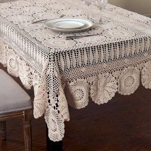 Handmade Crocheted Tabela de pano de algodão Toalhas bege Crochet Lace toalha de mesa Muitos Tamanho disponível homeindustry Handmade Crocheted wmtpEZ