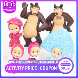 6 PCS lot Masha And Bear Figure Doll Cake Decoration Masse Toys Bear Masshe Action Figure Micro Landscape Decoration
