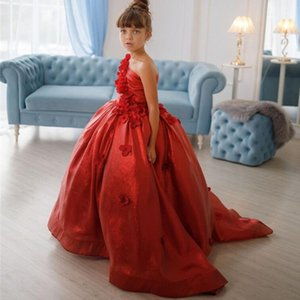 Bling Red Flower Girl Dresses for Wedding One Shoulder 3D Flowers Little Kids Pageant Gowns A Line Vestidos Wedding Party Gowns