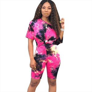 Tie Dye Streetwear Two Piece Outfits Summer Clothes for Women Short Sleeve T shirt Top and Biker Shorts Tracksuit Matching Sets