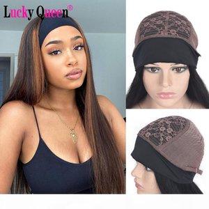 Lucky Rainha Destaque Lenço de Headband Straight Wig Perucas de Cabelo Humano para Mulheres Afro-americanos Peruca Affordable Headband
