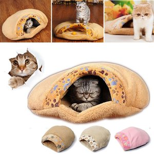 Puppy Pet Cat Dog Soft Warm Winter Bed Cave Nest Kennel House Round Sleeping Bag Mat Pad Tent S L 3 Colors Pets Cozy Beds