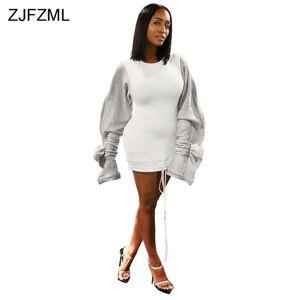 Ruffle Puff Sleeve Casual Hoodie Dress Women Drawstring Split Long Sleeve Sweatshirt Dress Autumn Winter Fleece Plus Size Dress C0119