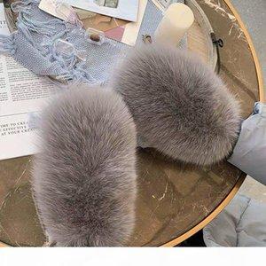 2019 New Women Winter Luxury Real Fox Fur Gloves Wool Kintting Mittens Girls Ski Gloves Warm Fur Mitts Russian Lady Wrist Glove CJ191225