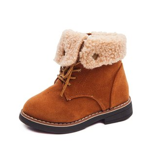 Fashion Children's Boots Kids Rubber Boots For Boys Girls Classic Ankle Shoes Autumn Winter Warm Cotton Turned Over Style 26-36