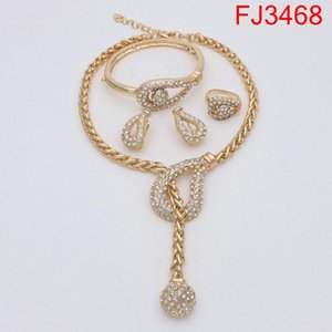 New Dubai Gold Jewelry Sets for Women Jewelry Necklace Bracelet Ring Earrings Bridal Fashion Accessories