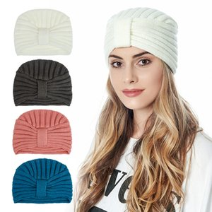 Bohemian knitted Knot Head Cap for Women Autumn Winter Warm Knitted Turban Cap Solid Color Elastic Scarfs Hat Hair Accessories DB371