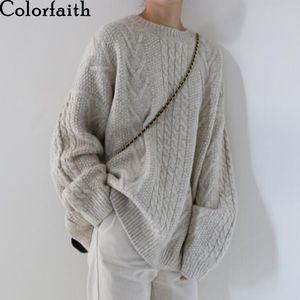 Colorfaith New Otoño Invierno Mujeres Suéter-jerseys Cálido Minimalista Punto elegante Ladies Flow Oversize Tops LJ201112