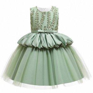 Macaron-Mädchen-Kleid-Spitze-Blumen-Prinzessin-Hochzeit für Mädchen Children 's-Kind-Kleidung-Abend-Partei Pricess Kleider L5177 x2GP #