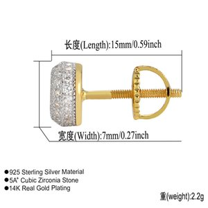 Mens Hop Earings Jewelry Stud Out Silver Iced Earring Pandora Diamond Pure Silver Gold Accessories Hip Women 925 Roqxb