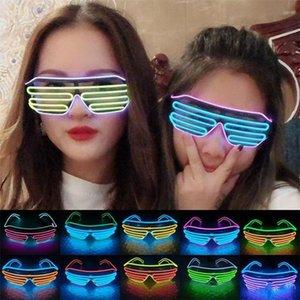 LED ışık Gözlük Cadılar Bayramı Parlayan Noel Partisi Glow Gözlük Festivali Dekoratif Aydınlık Gözlük DHL Ücretsiz EWF2195 Malzemeleri