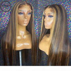 Estilo Vinida resaltado recto T-Pieza T-Parte Frente Pelucas para el cabello humano 150% Densidad Scalp Top Pelucas de cierre No Remy