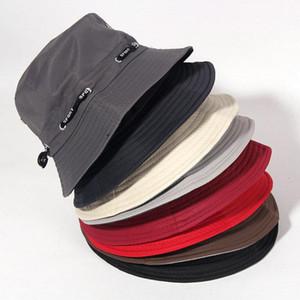 [La MaxPa] Мужская Bucket шлет хлопок Твердой шляпы рыболова куст Панама Cap Gorra женщины Пляж chapeu Pescador Веревка Солнцезащитные