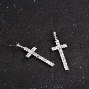 Silver Stud Cross Earrings For Women Men Fashion Wear Accessories Bridal Jewelry Christmas Birthday Valentine's Day Gift HWE4442