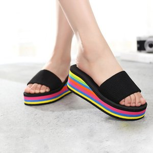Shoes For Girls Low Ladies' Slippers Slipers Women Platform On A Wedge Heeled Mules Luxury Slides Multicolored Sandals Lady X1020