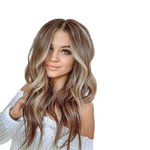 Nueva peluca de moda con gran onda y lino marrón color mezclado color rizado largo peluca