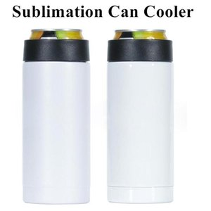12oz Sublimation Can Cooler Heat Transfer Slim Can Insulator Stainless Steel Double Wall Beverage Can Cold Keeper Mugs SEA SHIPPING CCA12613