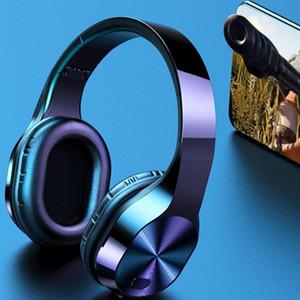 T5 Wireless Headphones TF di sostegno delle cuffie di 3.5mm Bluetooth luce LED Jack 9D auricolari stereo di musica cuffie con microfono caldo