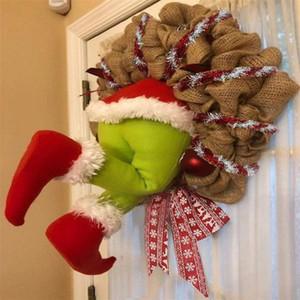 Ladro di Natale ha rubato il Natale della tela da Corona Decorazioni di Natale Babbo Natale Corona per la parete della finestra di natale Gifts EWA1657
