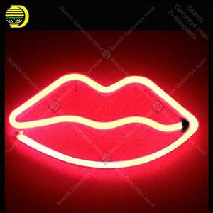 Lippen LED Neon Sign Night Lights Einzigartiges Design Licht-Wand-Dekor-Lampen-Spielzeug für Weihnachten Hochzeit Kinder BedRoom Echtglas