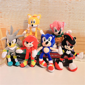 Hot 28cm Nuovo arrivo Sonic The Hedgehog Sonic Tails Knuckles The Echidna Peluched Animals Peluche Giocattoli DHL DHL Spedizione veloce