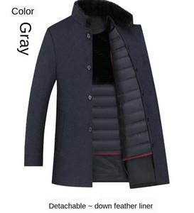Wool Coat Men Thick Detachable Duck Down Liner Woolen Coat Mens Winter Warm Mens Trench Long Overcoat Men England Style