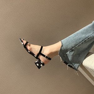 Summer new style square head thick heel button sandals sexy wave point open toe middle heel show thin fairy shoes high quality