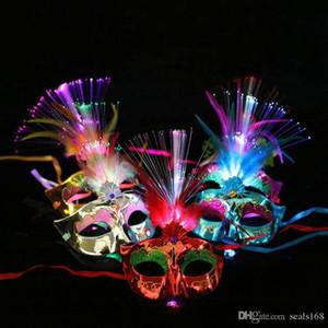 Led Light Up Maske Frauen Venetian Abendkleid-Partei Prinzessin Feder glühender Maskerade Masken Hh9-2561