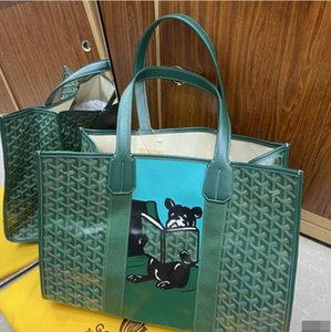 2020 bag graffiti bulldog print shopping bag green Handbags Iconic Top Handles Shoulder Bags Totes Cross Body Bag Clutches Evening