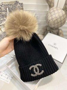 Skullies Sombrero de Hip Hop para mujer de punto sombreros de piel transpirable de algodón Beanies Caps algodón caliente Gorra con borla de invierno
