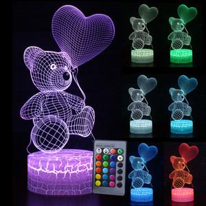 아이 라이트 나이트 3D LED 나이트 라이트 크리 에이 티브 테이블 침대 옆 램프 로맨틱 하트 베어 빛 키즈 그릴입니다 홈 장식 선물 D30 C1007