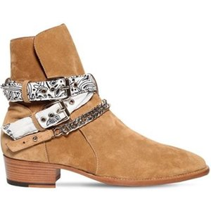 New Season Man Bandana Buckle Boots Brown Kanye West Runway Western Cowboy Boots Bandana Ami Chain Boots Shoes