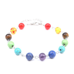 Colorful Chakra Bracelet New Pattern Turquoise Energy Natural Healing Crystals Woman Man Beaded Bracelets Anklet Yoga 3 1jy K2B