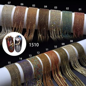 100 cm Kette Nail art Metallkette Gold Silber Perle Micro Nagel Strass Linie Glas Tipps DIY Dekoration Glitter Striping