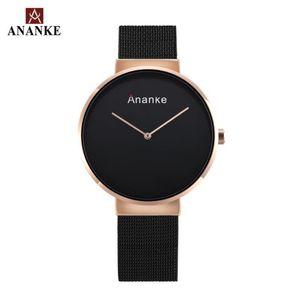 Ananke Men Простые двусторонние аналоговые часы мужской водонепроницаемый браслет платье часы серебряные черные рельозыйо Masculino