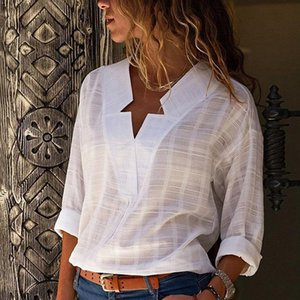 Women's White V-neck Long Sleeve Blouse Plus Size 5XL Star Print Office Lady Womens Tops and Blouses Spring Women Shirts 201023