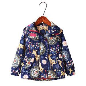 Autumn Girls Jackets Children Outerwear Hooded Girls Coats with Fleece Windbreaker for Girls Waterproof Raincoat Kids Clothes 0930