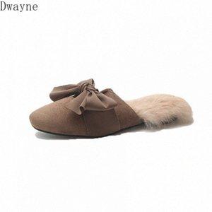 Net red slippers women fall wearing 2020 new Korean wild hair half drag Baotou fashion hairy Muller shoes winter ov8Q#