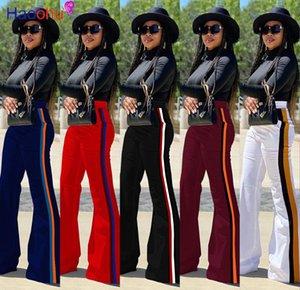 Geniş Kadınlar Pantolon Moda Streetwear Kadınlar bacak uzun Pantolon Yüksek Bel Bell Alt Çizgili Ekleme Pantolon