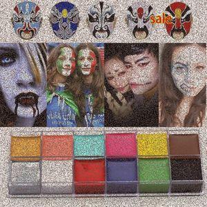 1 Set 12 Colors Flash Tattoo Face Body Paint Oil Painting Art Halloween Party Fancy Dress Beauty Makeup Tools t0dl#