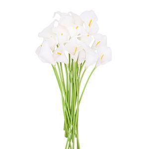 10Pcs PU Calla Lily Flores Bouquets Wedding Fake Flowers Home Decoration Artificial Plants
