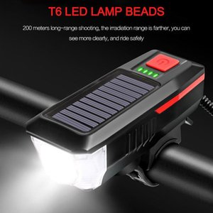 USB Rechargeable Solar Bike Front Light Night Cycling Riding T6 LED Bicycle Headlight Waterproof Bike with 120db Horn