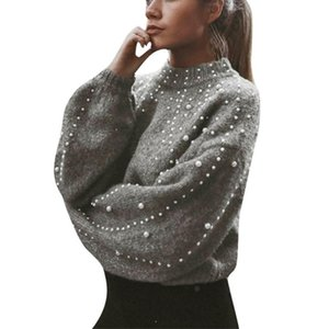 FREE OSTRICH Winter Sweater For Women Beaded Turtleneck Pullover Top Female Fashion Outwear Clothing Loose Knitted Sweater