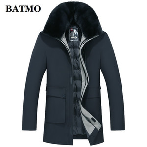 BATMO 2020 new arrival winter high quality white duck down jackets men,fake fur collar warm coat,thicked parkas ,plus-size 1903