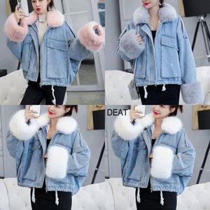 Проложенного DEAT хлопка женщин короткого стиль 2020 зима новой корейская версия Утолщенного Big Hairy воротник джинсового пальто Ins мода 4PMF