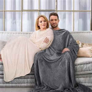 Soft Warm Comfy Plush TV Hooded Blanket Sweatshirt Fleece Throw Blanket with Sleeves for Adult Women Men Kids Weighted Blankets 201222