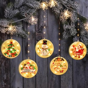 Christmas Round Shape shine LED Lights Post New Year Ornaments Door Hanging Pendant Xmas Decor For Home Christmas Tree Gifts